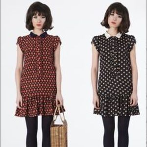 dear creatures polka dot drop waist dresss